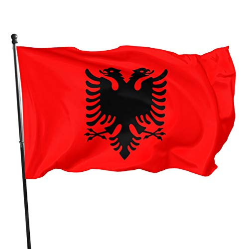 Vlag Van Albanië Vlag(de Union Jack) 3 X 5 Ft (150x240cm) Polyester -Levendige Kleur en Dubbele gestikte Nationale Vlaggen 100% Polyester Banner voor Outdoor