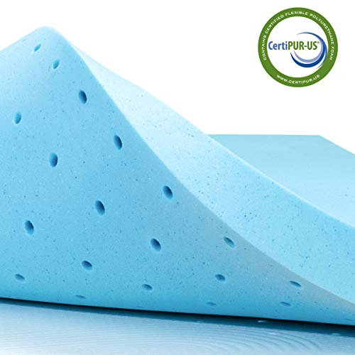 subrtex 4 Inch Gel-Infused Memory Foam Cooling Bed Pad with Ventilated Design for Pressure Relieving RV Mattress Topper Protector Pad-10 Years Warranty, King, Blue
