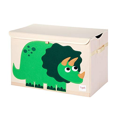 3 Sprouts Collapsible Toy Chest Storage Organizer Bin for Boys and Girls Playroom Nursery Bundle with Dinosaur and Walrus Designs (2 Pack)