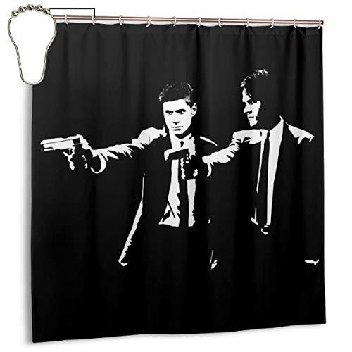 GSEGSEG Gseg Wasserdichter Polyester-Duschvorhang Pulp Fiction Supernatural Sam and Dean Winchester mit Haken, 182,9 x 182,9 cm
