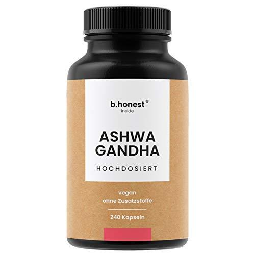 Ashwagandha Kapseln - Hochdosiert mit 240 Kapseln je 650mg, 1950mg pro Tagesdosis - Indische Schlafbeere - Vegan, laborgeprüft und in Deutschland hergestellt