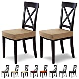 SCHEFFLER-Home Stretch Stuhlbezug Marie | 2er Set elastische Stuhlauflagen mit Fleckschutz | wasserabweisender Sitzbezug Esszimmerstuhl | Elegante Auflage für Stühle | Stuhlhussen Stretch