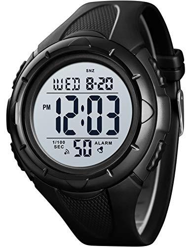 Herren Uhr Digital Outdoor Laufen Sportuhr 5 ATM Wasserdicht LED Alarm Dualzeit Stoppuhr Datum Uhrzeitanzeige Kalender Countdown Multifunktional
