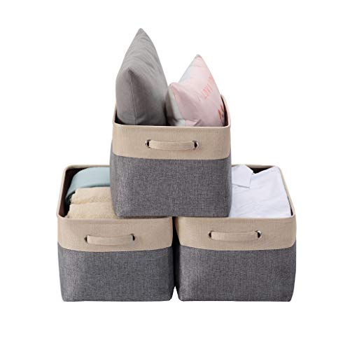 DECOMOMO Extra Large Foldable Storage Bin [3-Pack] Collapsible Sturdy Cationic Fabric Basket W/Handles for Organizing Shelf Nursery Home Closet (Extra Large - 15.8 x 12.5 x 10, Slate Grey and Beige)