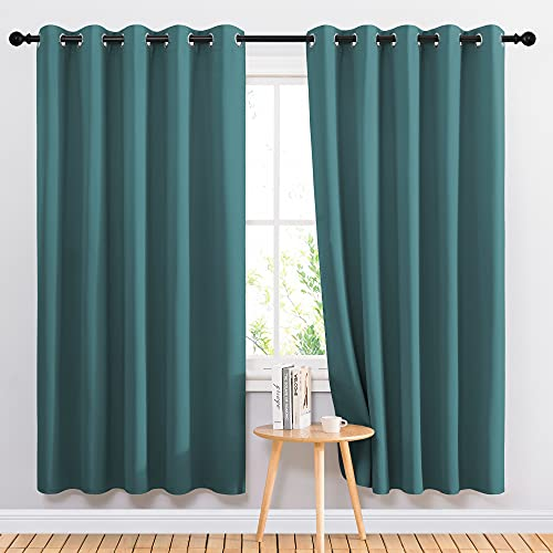 NICETOWN Insulated Curtains Blackout Draperies - Triple Weave Microfiber Home Thermal Insulated Solid Ring Top Blackout Curtains/Panels for Bedroom(Sea Teal, Set of 2, 66 x 72 Inch)