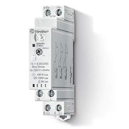 Finder 151182300400PAS Dimmer, Slave, für Halogen, CFL, LED, Montageschiene 35mm, 400W, 230V