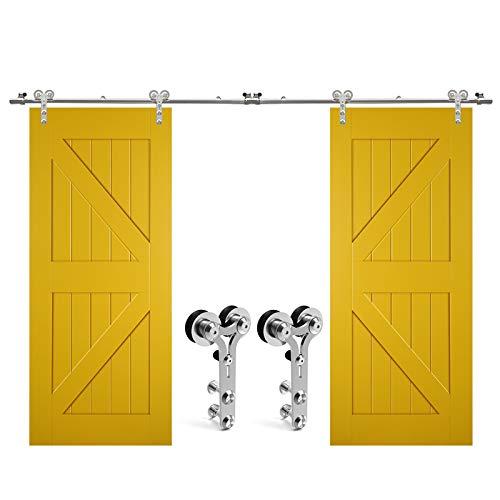 Roestvrij stalen schuifbeugel met dubbele deur Hardware Closet Track Kit voor glas/houten deur, Y-vorm 12FT/3.65M for double door Zwart