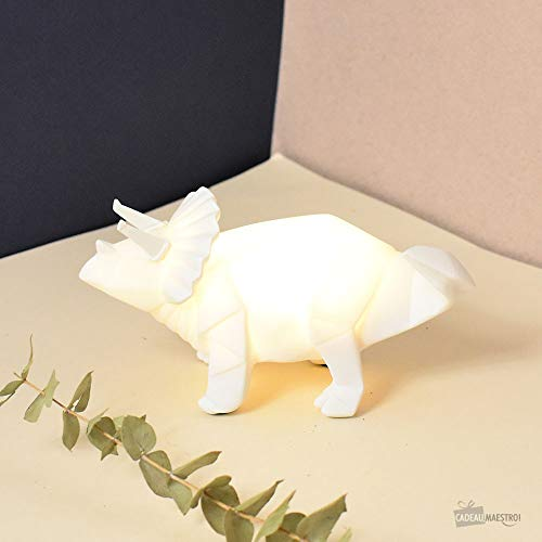 Mini veilleuse lampe dinosaure tricératops origami blanche pour chambre d'enfants - House of Disaster - LEDDINWH