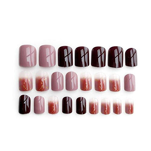 CSCH Faux ongles 24Pcs Acrylic Fake Nails Tips Full Cover Press On Short Ballerina False Extension Tips Decorated For Fashion Nail Art Tips Tools