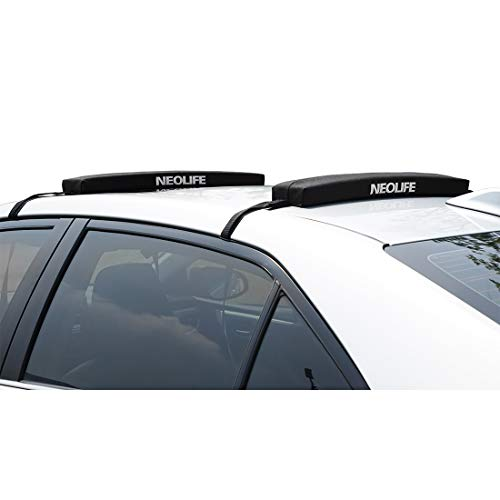 Neolife Soft Roof Rack Pads with Single Wrap-Rax Straps for Surfboard, SUP Paddleboard, Snowboard, Kayak, 28inch (Pair)