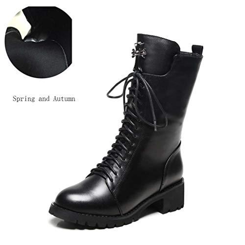 GHX Damenschuhe Martin Boots Englische Stiefel mit hohem Absatz Stiefeletten mit mittlerem Absatz Lederstiefel,A,40