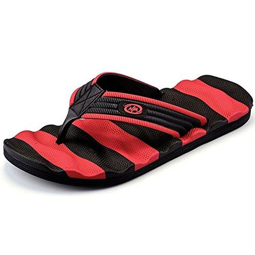 Muryobao Flip Flops for Men The Best Non Slip Summer Beach Big Man Slippers Large Size Extra Wide Platform Thong Sandals Red Size 41 EU/8 US