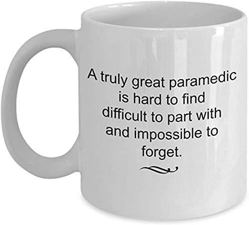 Divertida taza de café, regalo paramédico retirado - verdaderamente grande e imposible olvidar taza de té de cerámica blanca, regalo de retirada, taza de porcelana personalizada de 325 ml