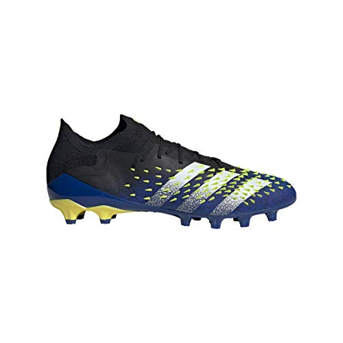 adidas Predator Freak .1 L AG, Bota de fútbol, Black-White-Solar Yellow, Talla 6.5 UK (40 EU)