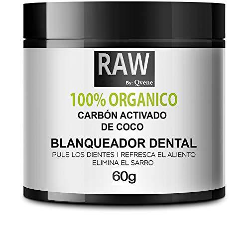 QVENE Blanqueador Dental - Teeth Whitening - Carbon Activado para Dientes - 100% Organico - Efectivo para Blanqueamiento Dental - Quita Manchas y Quita Sarro Dental – Blanqueador de Dientes- Blanqueador para Dientes (60g)