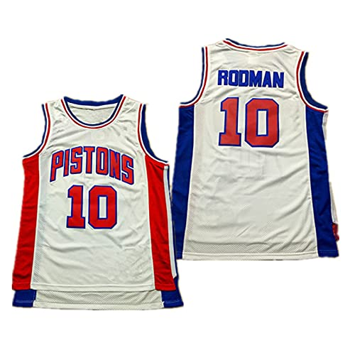 YXST Camiseta De Baloncesto NBA Pistones # 11#10 Malla Bordada De PoliéSter Top,RéPlica De Jugador De Baloncesto Secado RáPido Y Transpirable,White-10,S