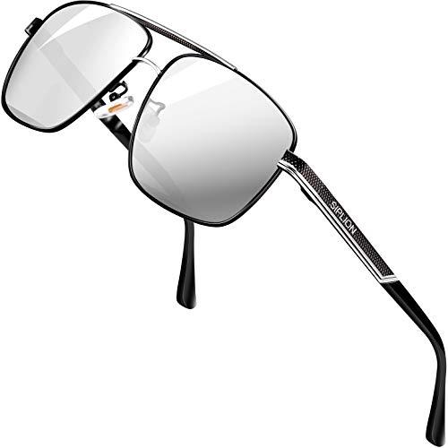 SIPLION Polarizzate Occhiali da Sole da Uomo Rettangolari occhiali da sole uomo in Metallo 1823argento