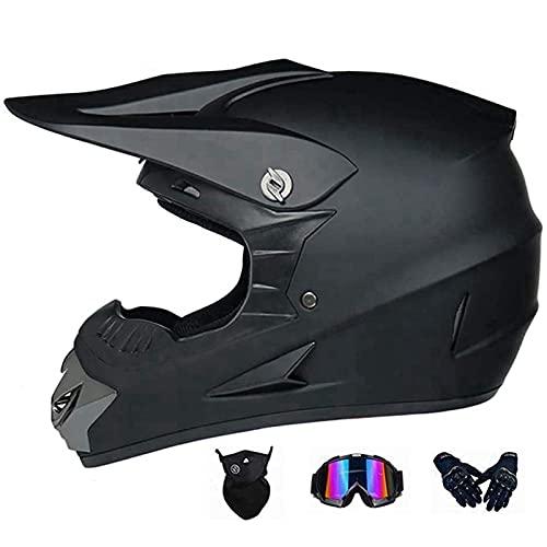 OUUUKL Motocross Helmet, Offroad Street Helmet with Dual Visor Full Face Crash Downhill DH Four Wheeler Helmet for Street Bike Dirt Bike BMX ATV (Black)