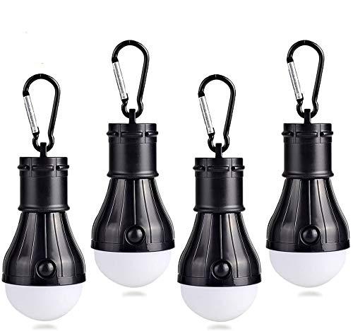 JTENG Campinglampe mit Karabiner Camping Lantern 4 Stücke Camping LED Zeltlampe Glühbirne Set Camping Lampen wasserdicht mit Karabiner Rucksack Licht für Abenteuer, Angeln, Garage, Notfall(Black)