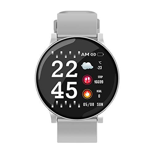 Reloj Inteligente Deportivo Hombres Mujeres Frecuencia cardíaca Presión Arterial Monitor de oxígeno Rastreador de Ejercicios Recordatorio de Alarma Smartwatch, W8 Gris