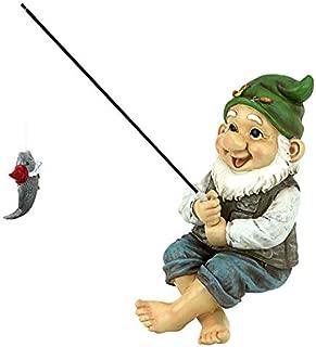 Garden Gnome Statue - Ziggy the Fishing Gnome Sitter - Outdoor Garden Gnomes - Funny Lawn Gnome Statues