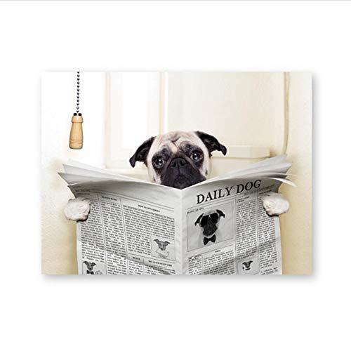 Zhaoyangeng Póster de lona con diseño de perro de perro en el inodoro y la lectura de la revista impresa en lienzo para baño, decoración de pared, 42 x 60 cm, sin marco