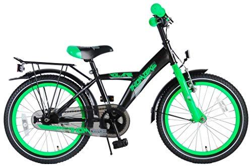 Thombike Kinderfahrrad Jungen 18 Zoll Gepäckträger Schwarz Grün 95% Zusammengebaut
