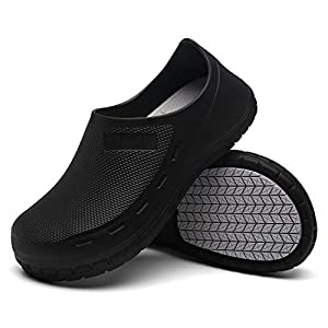 AW ANY WELL Unisex Chef Shoes Professional Oil Water Resistant Nursing Non-Slip Black White Waterproof Safety Working Shoes for Kitchen Garden Bathroom Construction Medical Shoes(Black-9 Women/ 8Men)