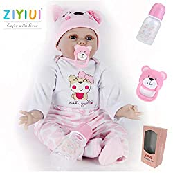 Beautiful 22inch Handmade Lifelike Reborn Baby Doll by ZIYIUI. Size: The reborn doll measures approximately 22 inches (55 cm) from head to toe and weighs approximately 2.6 lbs. Baby soft vinyl head and limbs, cute soft silicone body. The body and cut...