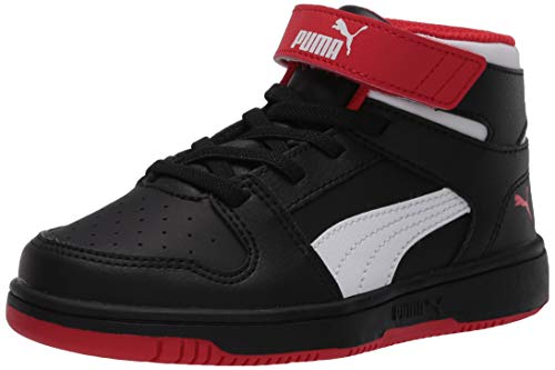 PUMA Unisex-Baby Rebound Layup Hook and Loop Sneaker, Black-High Risk Red White, 4 M US Toddler