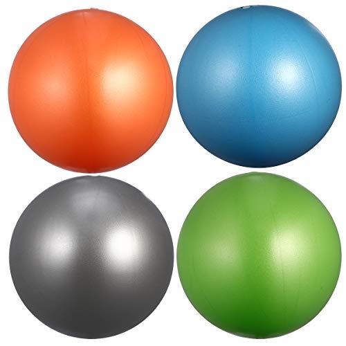 Abaodam 4 pelotas de yoga esmeriladas de espesor, antiestallidos, para fitness, gimnasia, gimnasia, etc. (15-35 cm, tamaño al azar, naranja+verde+ plateado + azul cielo)