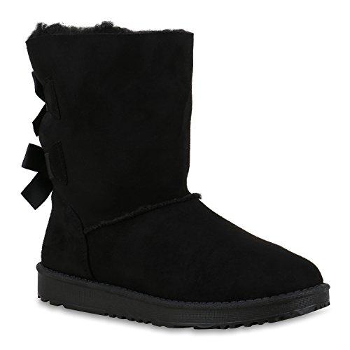 Bequeme Damen Schlupfstiefel Winter Boots Stiefel Gefüttert Schuhe 129784 Schwarz Berkley 36 Flandell