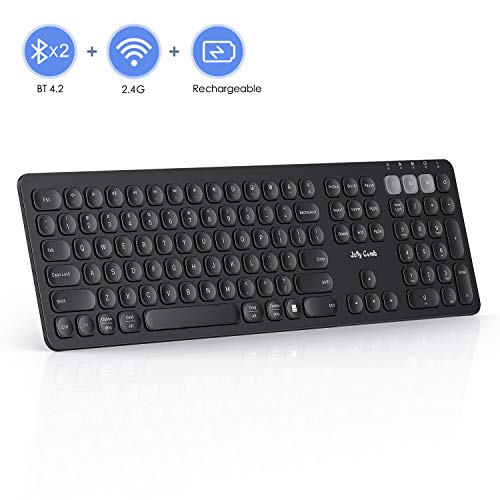 Multi-Device Bluetooth Keyboard, Jelly Comb Dual Mode Rechargeable 2.4G Wireless & Bluetooth Keyboard Full Size Switch to 3 Devices for PC Laptop Tablet Macbook iOS Android Windows(Black)