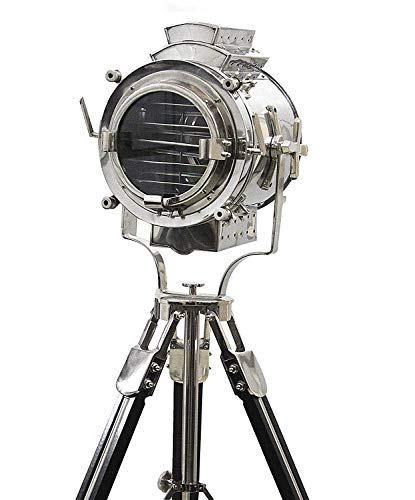 Vintage Modern Collectible Chrome Searchlight Home Black Screw Tripod Nautical Spotlights