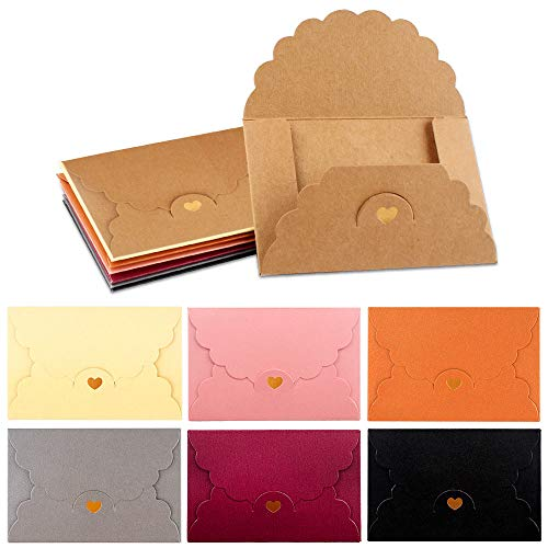 Mini Umschläge 42 Stück Mini Briefumschläge Bunt Geschenkkarten Umschläge Kraftpapier Umschläge mit Herzverschluss für Valentinstag Weihnachten Geburtstag