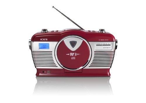 iCES ISCD-33 tragbares Retro-Radio - CD/MP3 Player - 20 Titelspeicher - FM Radio - USB Wiedergabe - 3,5mm Kopfhörerbuchse - rot