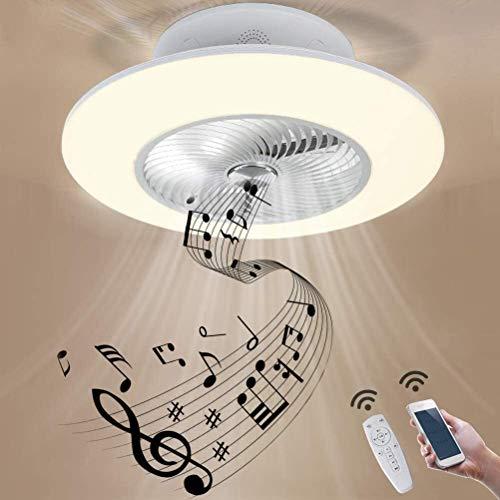 DLGGO Moderne Deckenventilator mit LED-Lampe, 96W Quiet Smart Fan-Deckenleuchte mit Fernbedienung und Bluetooth-Lautsprecher, Kinderzimmer Schlafzimmer Wohnzimmer Ventilator Lampe Invisible Fan Beleuc