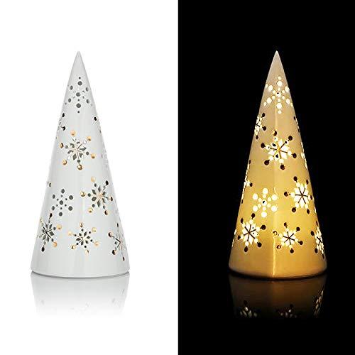 LED Pyramide Weihnachtsdekoration beleuchtet Porzellan Dekoration Lichterkette Weihnachten mit Schneeflocken Weiß Gold