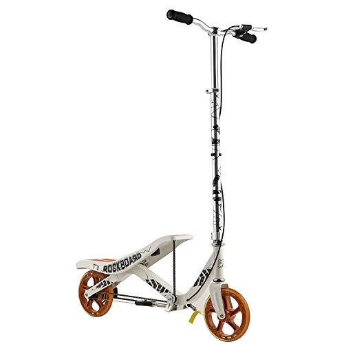 Rockboard RBX - Tretroller mit Schwungrad - Wippscooter - Luftdruckdämpfer Angetriebener Roller mit Bremsen - Für Kinder ab 7 Jahren, Weiß