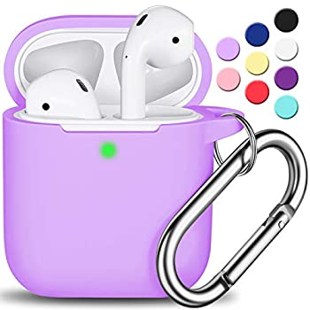 AirPods Case Cover with Keychain Full Protective Silicone AirPods Accessories Skin Cover for Women Girl with Apple AirPods Wireless Charging Case,Front LED Visible-Lavender