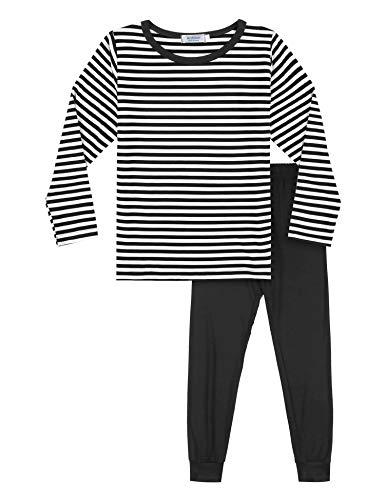 Bricnat Schlafanzug Jungen Lang 116/120 Gestreift Pyjama Kinder Junge Winter Schwarz Nachtwäsche Herbst
