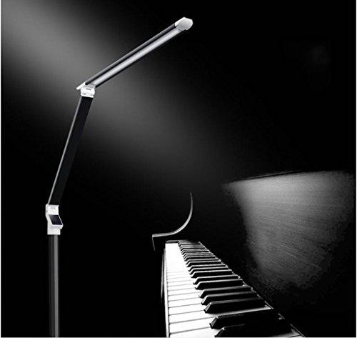 Staande lamp lees/staande lamp, vloer leeslampen, pianoverlichting, metaal, LED (zwart zilver) - goud LED (kleur: zwart)