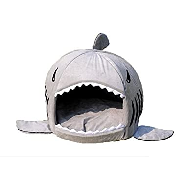 Pet bed, KAMIER Shark Round Washable Soft Cotton Dog Cat Pet Bed-Grey,M
