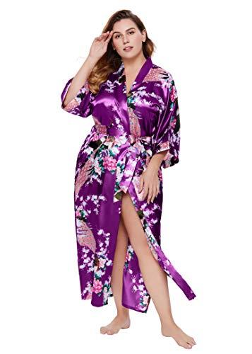 Coucoland Damen Morgenmantel Große Größen Pfau Muster Gedruckt Strickjacke Kimono Plus Size Maxi Lang Bademantel Damen Lange Robe Strandkleid Blumen Schlafmantel (Violett)