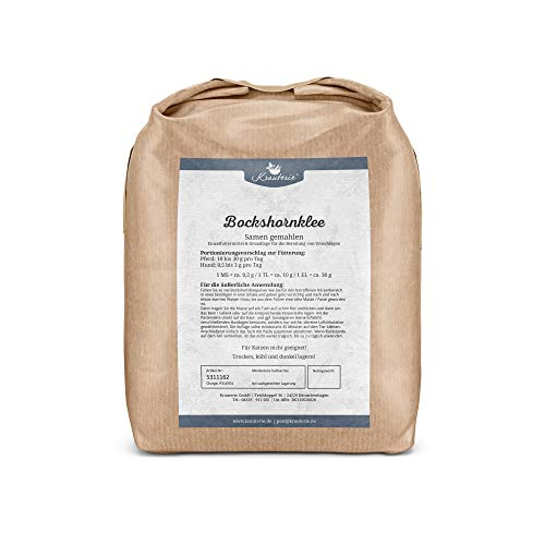 Krauterie Bockshornklee-Samen gemahlen in sehr hochwertiger Qualität, frei von jeglichen Zusätzen, für Pferde und Hunde (Trigonella foenum) – 1000 g