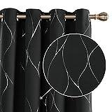Deconovo Cortinas Salón Habitacion Opacas Modernas Térmicas Aislante Decorativas con Ojales 2 Piezas 140x240cm Negro