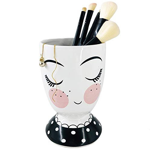 Forward Makeup Brush Holder Organizer, Cup Storage Cosmetic Tools for Vanity Countertops, Perfect for Makeup Brushes, Eyeliners and Mascaras, Also Great As Kitchen Cutlery Storage Cup(White Ceramic)