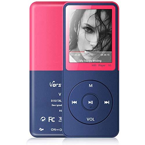 """MP3 Player, Vorstik HiFi Digitales Audio Player 1.8\"""" TFT Bildschirm & Lautsprecher 8G SD Karte 64G 50 STD Wiedergabe Sprachaufzeichnung FM Radio Video Recorder E-Book Reader"""