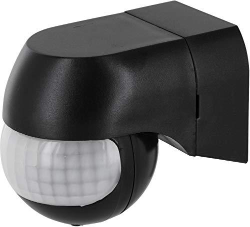 Aufputz Slim Infrarot Bewegungsmelder IP44 180° 230V - mit Dämmerungssensor - für Feuchtraum Aussen - LED geeignet ab 1W - schwarz