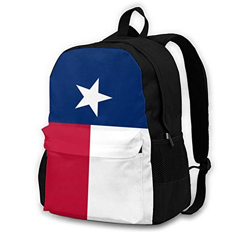 Texas Flag Youth Adult Backpack College Bookbag Shoulder Laptop Bag Rucksack Daypack for Tourism Mountaineering Shopping Zoo Park Outdoor Sports